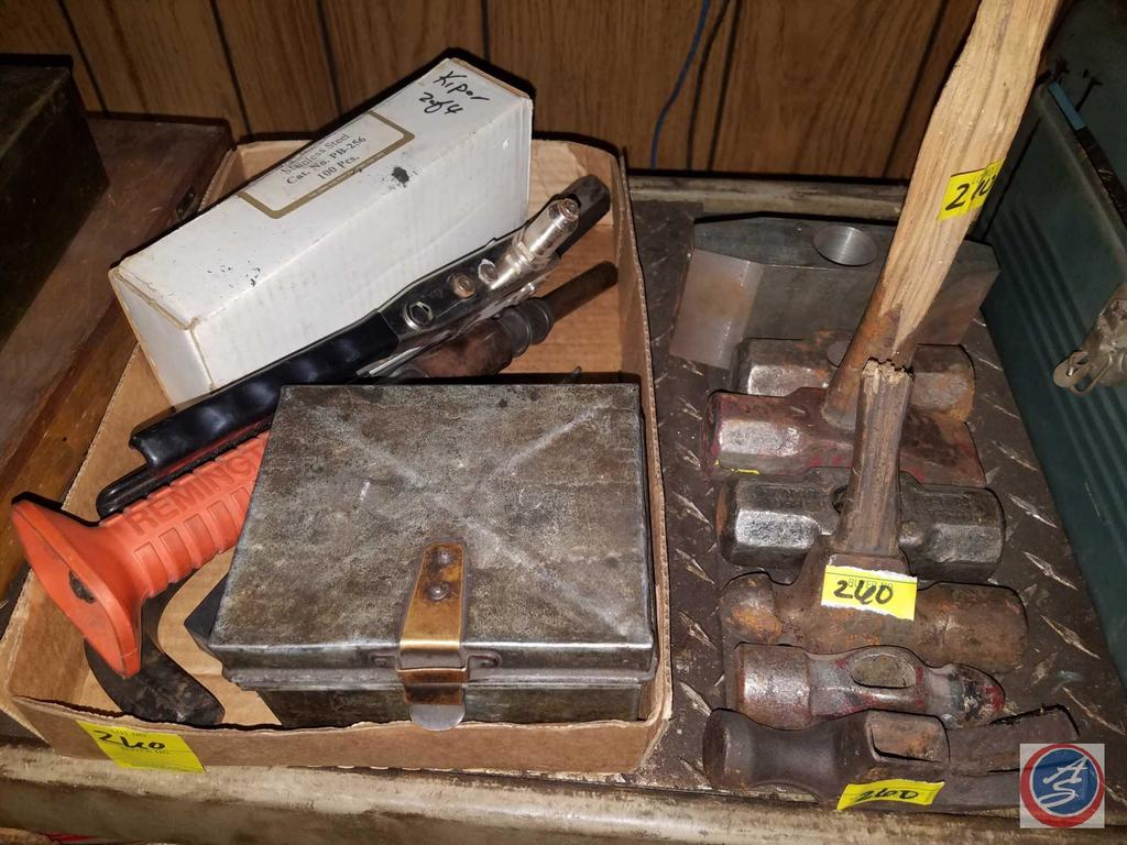 Assorted Hammer Heads, Dies, Remington Powder Actuated Tool, Ace Punch