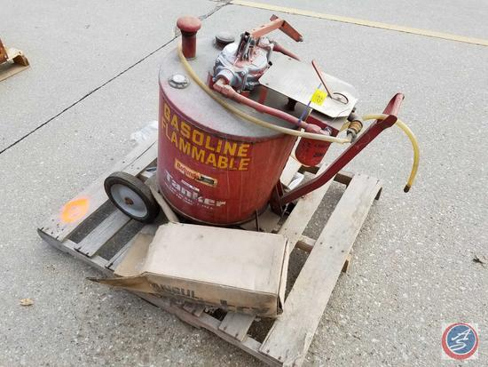 Gasoline 30 Gal. Transfer Tanker Model FM3000 with inline filter, transfer pump on Cart condition