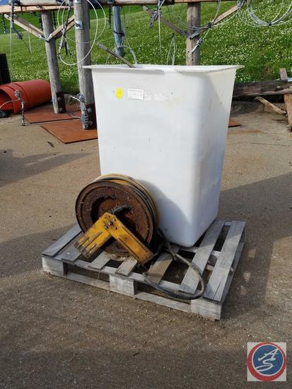 Hose Reel with Hydraulic Line, Misc. Hydraulic Lines, Misc shop bolt bins, Man Bucket Liner {{NO