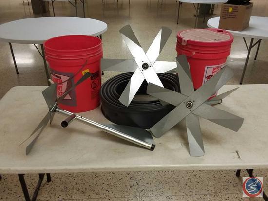 (3) Windmill Fans, (2) 5 Gal. Buckets (One Has Lid), Landscape Edging