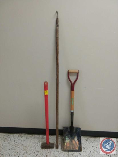 Sledgehammer, Square Scoop Shovel, Long Handled Hook