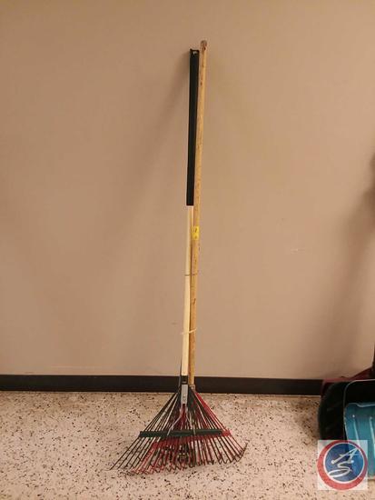 "(2) Metal Leaf Rakes, (1) 8"" Brush Rake"