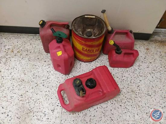 Vintage 5 Gal. Metal Gasoline Can, (5) Plastic Gasoline Cans