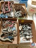 (2) Chains, Hooks, Assorted Brackets, Large Eye Bolt and More