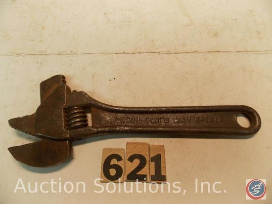 Crescent Wrench 8 in. marked 'CARLL Pat May 8, 1913' combo Pipe Wrench
