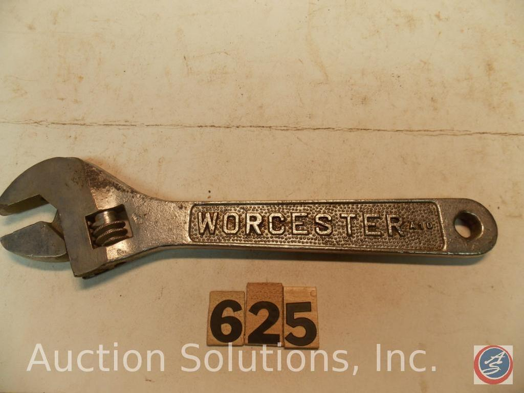 Crescent Wrench 10 in. marked 'Worcester A10' - 'Walden 10'. Pebble finish, most of original chrome