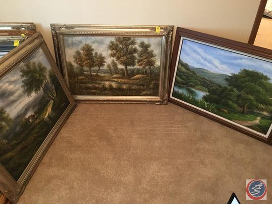 """{{3x$BID}} Vintage Framed Canvas Painting 44"""" x 33"""" Signed by (2) Signed by A. Rogers, (1) by J."""