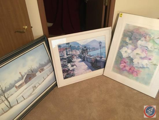 """{{3x$BID}} Vintage Framed Canvas Painting 43"""" x 31"""" Signed Charles, Framed and Glass Print 38"""" x"""