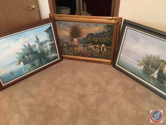 """{{3XBID}} Vintage Framed Canvas Painting 44"""" x 33"""", 41"""" x 31"""", 41"""" x 29"""" Jane Mabre, S. Ryder,"""