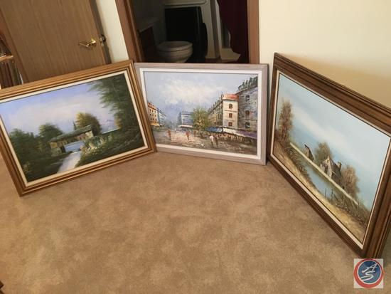 """{{3XBID}} Vintage Framed Canvas Painting 44"""" x 33"""", 41"""" x 31"""" Endrby, (2) No Signature"""