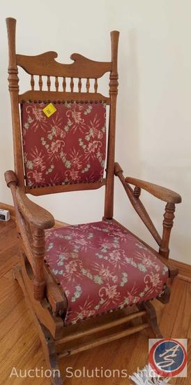 Antique Spring Wood Rocking Chair w/ Upholsteredd Seat and Back