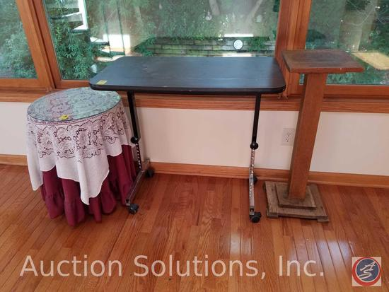 """Adjustable Height Globe Rolling Bed Tray 36"""" x 20"""", Wooden Plant Stand 12"""" x 12 1/2"""" x 35"""", Side"""