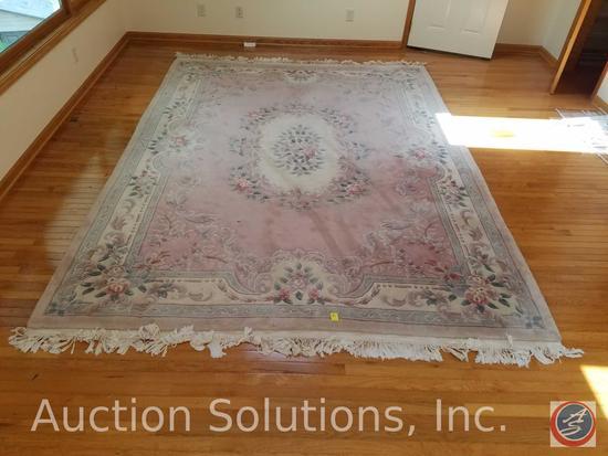 Large Pink Plush Wool Area Rug 12' x 8 1/2'