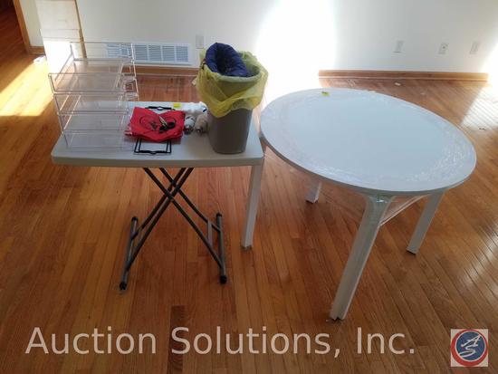 "Wooden Round Table 5"" x 28"", Folding Table 30"" x 19 1/2"" x 29"", Trash Can, Blazin LED Flashlight"