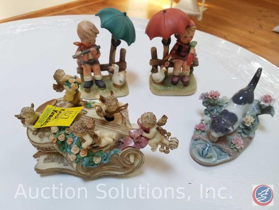 """1984 Lladro 1442 Cat and Frog, Kingspoint Designs 9489 """"Light Up My Life"""" Music Box, Ucagco Ceramics"""