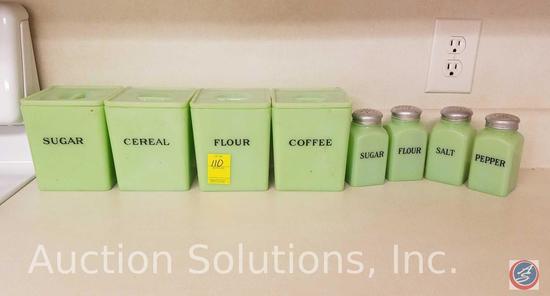 1930's Vintage Green Jadeite Depression Glass Canister Set w/ Salt, Pepper, Sugar, Flour Shakers