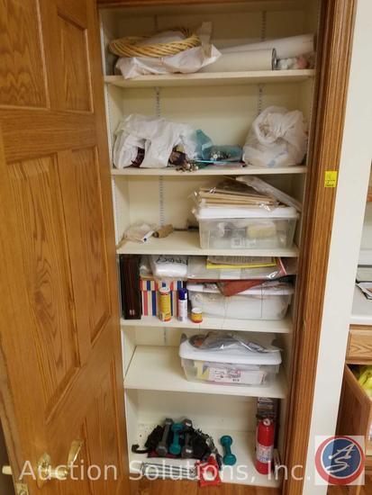 Assorted Knitting Needles, Sea Shells, Craft Supplies, Hot Glue Guns, Fabric, Hand Weights