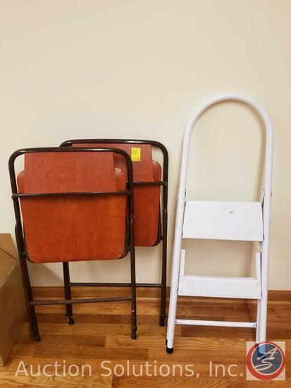 (2) Padded Folding Chairs, (1) Kitchen Step Stool