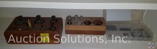 (2) Antique Apothecary Weights and Custom Wooden Case, Plastic Case w/ Weights