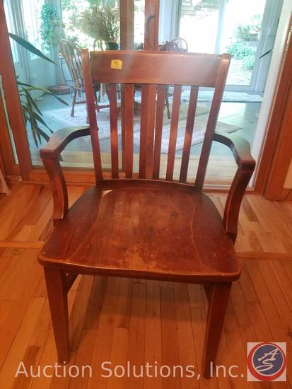 Vintage Murphy Slat-Back Wood Arm Chair