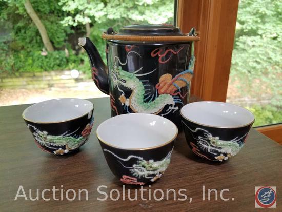 Antique Japan Musical Teapot w/ (3) Tea Cups {{BROKEN PIECES}}