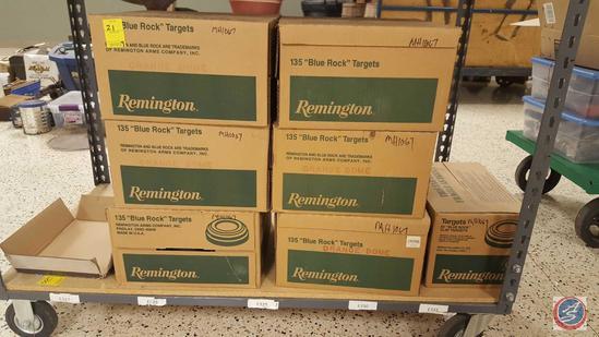 "(6) Cases of 135 Remington Orange Dome ""Blue Rock"" Targets, (1) Case of 90 Remington Orange Dome"