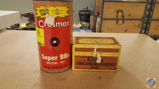 Crosman Super BBs Model 747 (Partial Canister), Daisy Treasure Chest BBs (Partial Box)