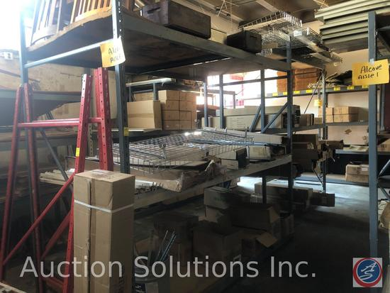 {{2x$BID}} Lozier Widespan Pallet Racking (4) 8' Uprights; (12) 8' Rails {{CONTENTS NOT INCLUDED}}