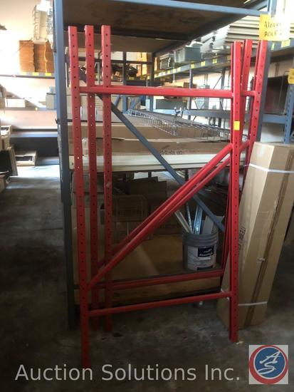 """Steel Warehouse Shelving (3-Red) 6' Uprights, (7) 8'2"""" Rails {{CONTENTS NOT INCLUDED}}"""