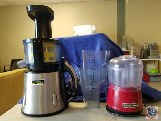 Bella NutriPro Cold Press Juicer Model No. JE5616, Kitchen Aid Chopper Model No. KFC3511ER, (2) 32