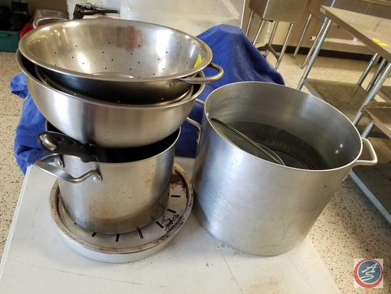 32 qt. Stock Pot, Daily Chef 8 qt. and 5 qt. Stainless Steel Mixing Bowls, Stainless Strainer,