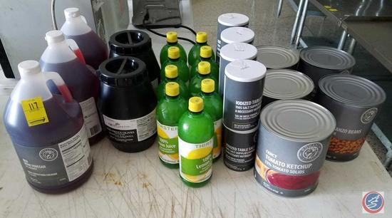 (3) Monarch Red Wine Vinegar 1 Gallon Jugs, (2) Rykoff Sexton Kalamata Olives 4 Lb. Plastic Jugs,