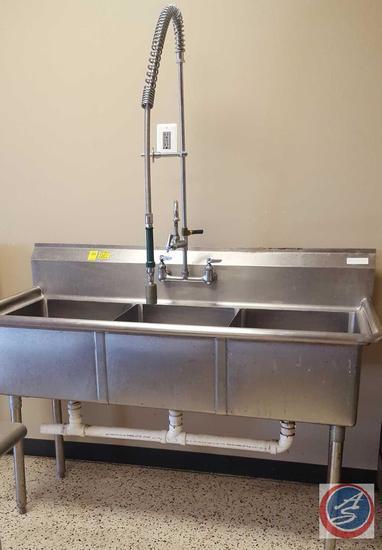 "Three Compartment Sink with Sprayer Hose Dish Washing Sink 59"" x 24"" x 45"""