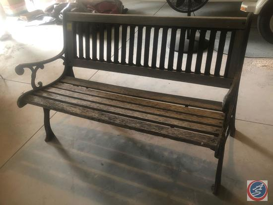 "Cast Iron and Wooden Outdoor Bench 49"" x 25"" x 31"""
