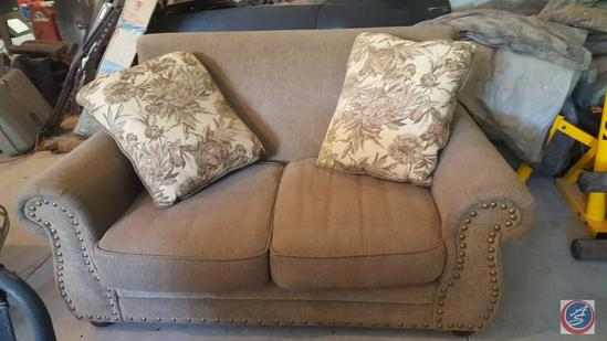 "Oversized Loveseat w/ (2) Throw Pillows {{NO BRAND NAME IS VISIBLE}}66"" x 40"" x 39"""