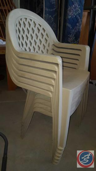 "(6) Plastic Patio Chairs, Grosfillex Patio Table 65"" x 38"" x 27"" {{CONTENTS OF TABLE SOLD"