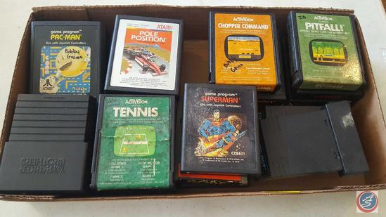 Atari Video Game Cartridges: Pac-Man, Frostbite, Space-Master, Cosmic Arc, Asteroids, Demon Attack,