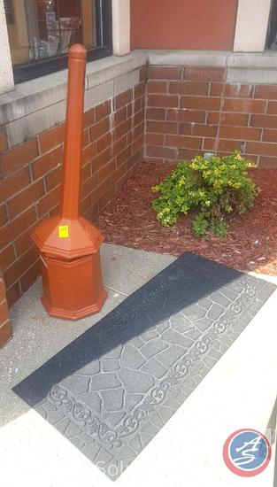 Smokers Outpost Butt Receptacle and Outdoor Rubber Mat
