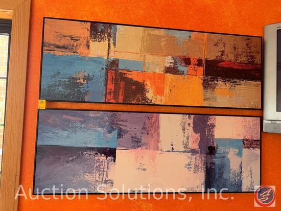 """(2) M. Castells.S Framed Abstract Prints measuring 18"""" x 52"""""""