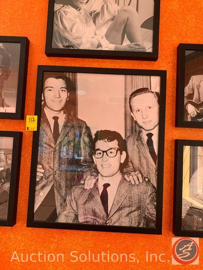 (6) Framed Photos of Buddy Holly, Elvis Presley, Elvis Costello and More