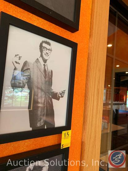 (5) Framed Photos of Buddy Holly, Bruce Springsteen, David Bowie and Shirley Temple