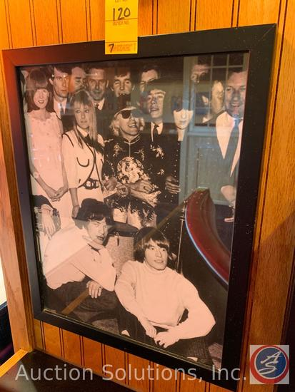 (7) Framed Vintage Photos of Rolling Stones and Dean Martin