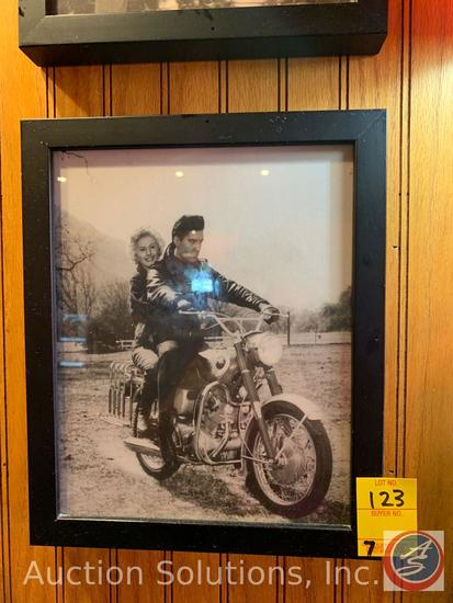 (7) Vintage Framed Photos of Motorcycles