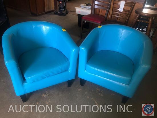 """{{2x$BID}} (2) Vinyl Chairs w/ Cushions 27"""""""
