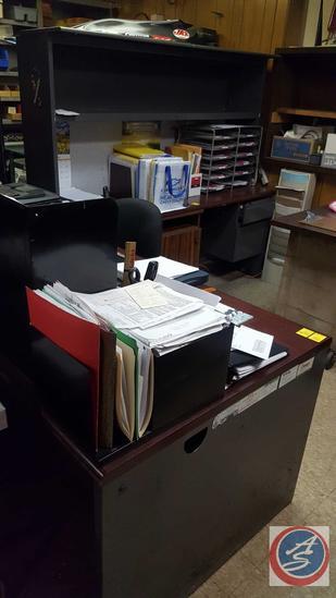 """{{2X$BID}} Two Piece L Shaped Desk w/ Overhead Storage 70"""" x 36"""" x 30"""" and 72"""" x 24"""" x 64"""""""