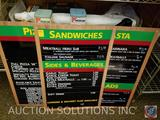 (2) Menu Boards, (2) Nabisco Saltine Vintage Tins, Bullhorn Siren, Ashtrays, Frames