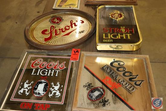 [4] Coors and Strohs Beer Advertisement Mirror Wall Signs