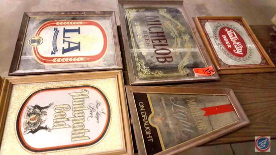 [5] Falls City, Hudepohl Gold, LA, and Michelob Beer Advertisement Mirror Wall Signs