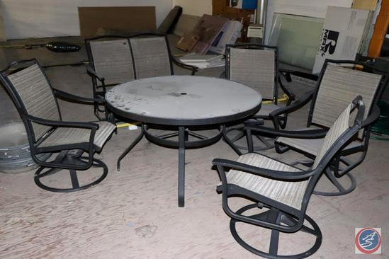 6-pc. Patio Table Set: Round Glass Top Table, [4] Swivel Rockers and a Two-Seat Glider