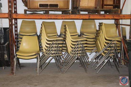 [44] Yellow Molded Plastic Stacking Chairs (Choice of [2] Lots)